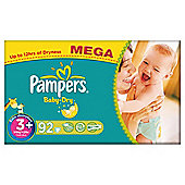 Pampers Baby Dry Size 3+ Mega Pack - 92 nappies