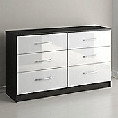 Birlea Lynx Six Drawer Chest - Black and White