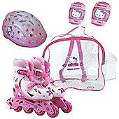 Hello Kitty Inline Roller Skates (30-33 Cm)(Protective Helmet/pads, Crystal Bag) - Outdoor and Sports