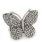 'Flutter-By' Swarovski Encrusted Butterfly Cocktail Stretch Ring - Rhodium Plated (Clear Crystals) - Adjustable size 7/8