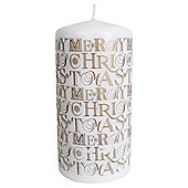 """Merry Christmas"" Pillar Candle, Gold"