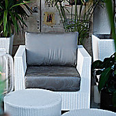 Varaschin Giada Outdoor Sofa Chair by Varaschin R and D - White - Panama Azzurro