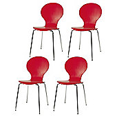 Bistro Set Of 4 Chairs, Red
