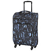 IT Luggage Megalite 4-Wheel Suitcase, Black/Blue Medium