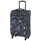 IT Luggage Megalite 4-Wheel Suitcase, Black/Blue Medium