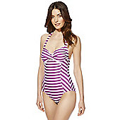 F&F Striped Halterneck Swimsuit - Purple & White