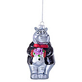 George the Hippo Groom Novelty Glass Christmas Tree Wedding Bauble Decoration
