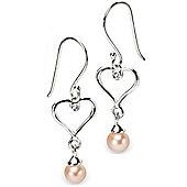 Children's D for Diamond Peach Pearl Drop Heart Earrings
