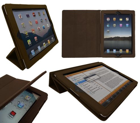 iTALKonline 19336 Pad Wear Executive Wallet Case With TRI-FOLD SMART TILT Brown - For Apple iPad 2