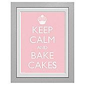 Keep Calm and Bake Cakes Framed Print, 30x40cm