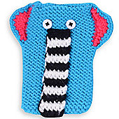 Quirky Knitted Character Handy Phone Cover - Blue Elephant