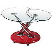 Torre Red Clear Coffee Table