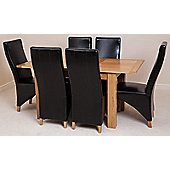 Hampton Solid Oak Extending 120 - 160 cm Dining Table with 6 Black Lola Leather Chairs