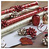 Christmas Wrap, Ribbon and Bow Selection Pack, Red and Gold