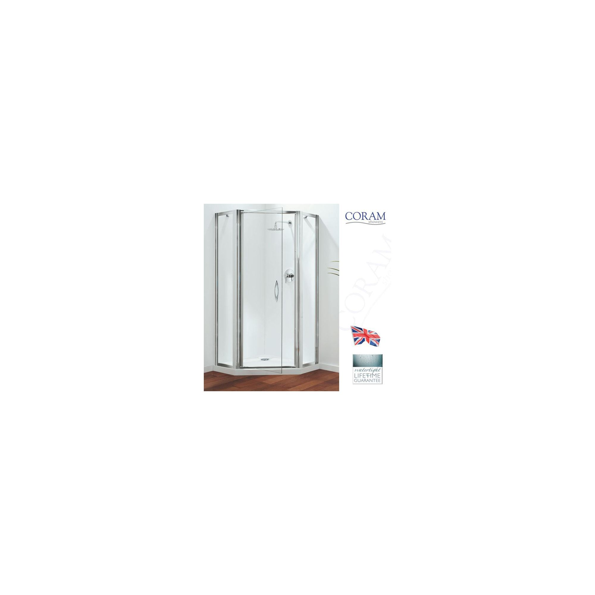 Coram Premier Pentagonal Frameless Swing Door Shower Enclosure, 900mm x 900mm, Low Profile Tray, 6mm Glass at Tesco Direct