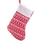 46cm Red Fabric Christmas Stocking with White Scandi Print