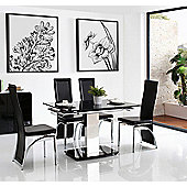 Enzo Black Glass and Stainless Steel Extending 80 - 120 cm Dining Table with 4 Black Alisa Chairs