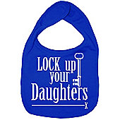 Dirty Fingers Lock up your Daughters Baby Bib Royal Blue