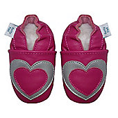Dotty Fish Soft Leather Baby Shoe - Pink and Silver Heart - 2-3 yrs