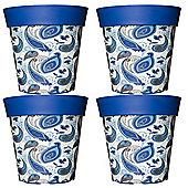 4 x 22cm Blue Paisley Plastic Garden Planter 5L Flowerpot by Hum