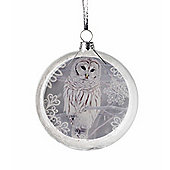 Parlane Hanging Round Decoration with an Owl Scene - 10 x 10cm