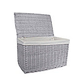 Extra Large Grey Willow Wicker Laundry Basket with Lid
