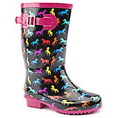 Brantano Girls Horse Buckle Black Wellington Boots - Black