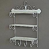 Twill - Three Tier Metal Storage Shelf With Hooks - Antique Cream