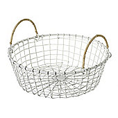 Parlane White Wire Basket With Wicker Handle - 8cm x 25cm