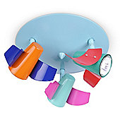 Aeroplane Three Way Ceiling Spotlight in Multi Coloured