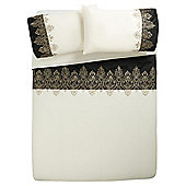 Tesco Damask Embroidered Duvet Set Black and Gold King