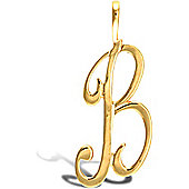 Jewelco London 9ct Gold Script Initial ID Personal Pendant, Letter B -1.2g