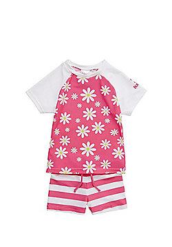 Babeskin UPF 50+ Floral and Stripe Surf Suit - Pink