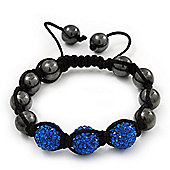 Hematite & Royal Blue Swarovski Crystal Beaded Shamballa Bracelet - Adjustable - 11mm Diameter