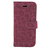 Tortoise™ Look Faux Leather Folio Case, iPhone 5/5S.Leopard Print design ,Pink/Red.
