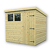 7ft x 4ft Pressure Treated 7 x 4 T&G Pent Shed + 2 Windows + Single Door