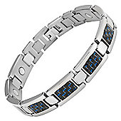 Willis Judd Mens Titanium Magnetic Bracelet With Blue Carbon Fibre In Black Velvet Gift Box