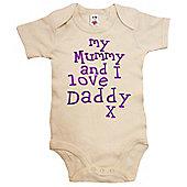 Dirty Fingers My Mummy and I love Daddy Baby Bodysuit - Cream