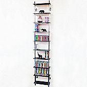 Maxwell - Wall Mounted 10 Tier Glass Cd / Dvd / Blu-ray Storage Shelf - Black