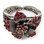Striking Diamante Flower Hinged Bangle Bracelet ( Burn Silver & Burgundy Red)