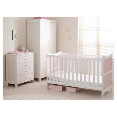 Saplings Kitty 3 Piece Nursery Room Set, Pink and White