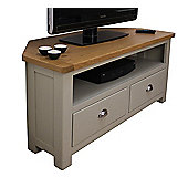 Aspen Painted Sage Grey Oak Corner TV Unit / Oak Corner TV Stand