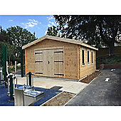 13ft x 16ft (4m x 5m) Garage Log Cabin - Double Glazing (44mm Wall Thickness)