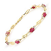 QP Jewellers 6in Diamond & Ruby Classic Tennis Bracelet in 14K Gold