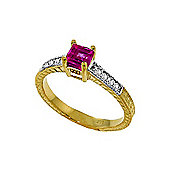QP Jewellers Diamond & Pink Topaz Ornate Gemstone Ring in 14K Gold