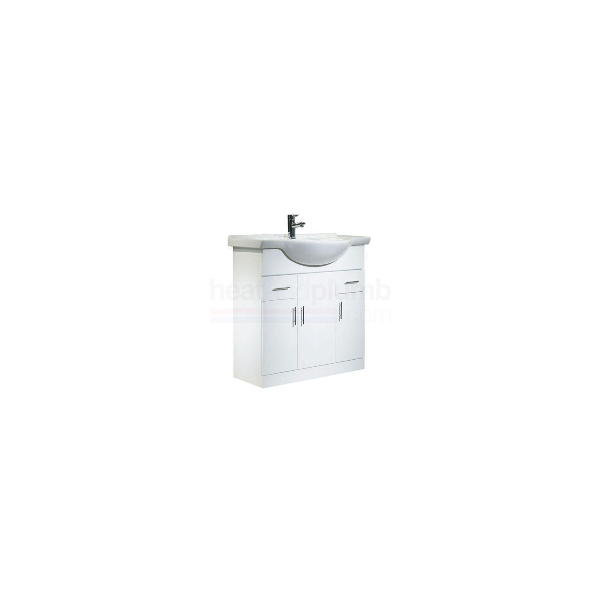 Tavistock Evolution White Floor Standing Cabinet and Basin - 1 Tap Hole - 850mm Wide