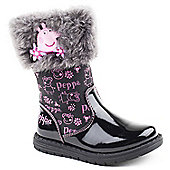 Character Girls Peppa Pig Fur Black Boots