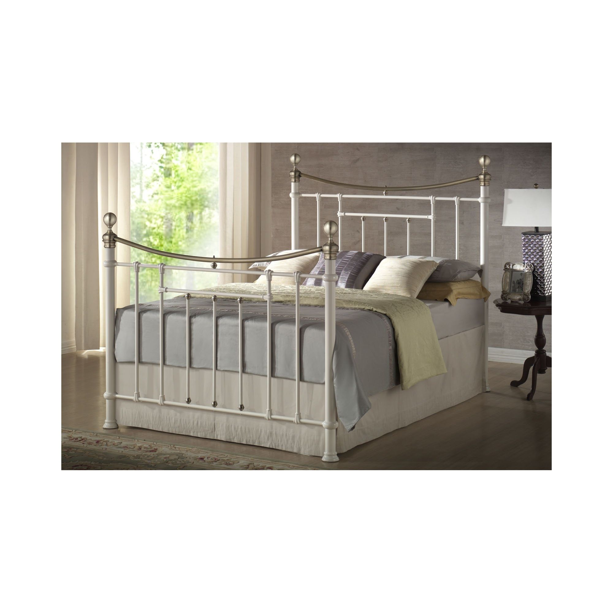 Birlea Bronte Metal Bed Frame - King - Cream at Tesco Direct