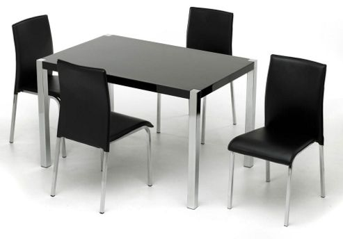 Charisma High Gloss Black Rectangular Dining Set