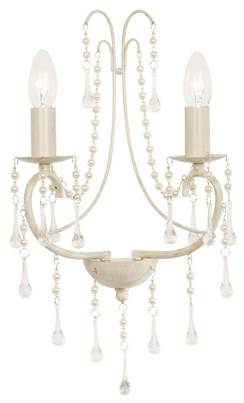 Endon Lighting 2 Light Wall Bracket in Cream Gold with Pearl and Glass Droplets